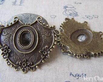 4 pcs Antique Bronze Large Earring Necklace Pendant Connector 52x61mm A4338