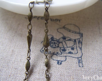 3.3 ft (1m) Antique Bronze Brass Mother And Son Rhombus Drop Chain A2916