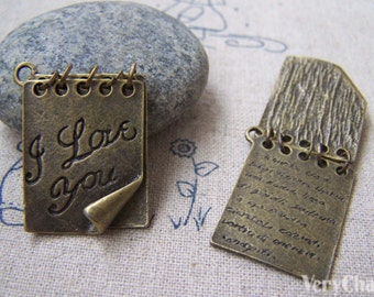 2 pcs of Antique Bronze Two Pages Love Letter Charms Pendants 21x26mm A2958