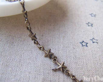 3.3 ft (1m) of Antique Bronze Brass Star Link Chain A2038