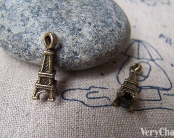 20 pcs of Antique Bronze 3D Small Eiffel Tower Charms 6x17mm A1653