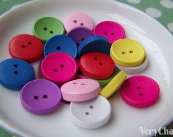 Wooden Button Assorted Color Two Hole Round Shape 14.5mm Set of 20 pcs A3749