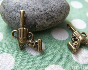 Pistol Gun Antique Bronze Handgun Charms 15x20mm Set of 20 pcs A1224