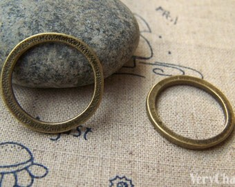 10 pcs of Antique Bronze Textured Circle Rings 24.5mm A3339