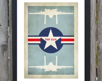 top gun minimal film print