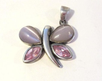 Vintage sterling silver Cat's Eye & Pink Topaz Dragonfly pendant