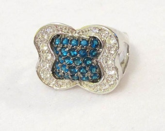 Gorgeous vintage sterling silver  Blue Sapphires & Cubic Zirconia ring size 7