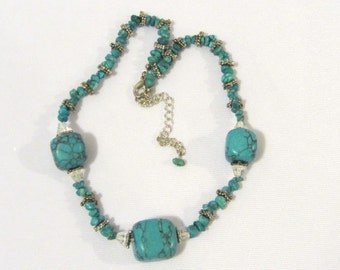 Vintage Jewelry Silver-Tone Turquoise Beads Necklace 18'' Length