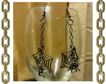 Spider and Web Earrings - 1 Pair