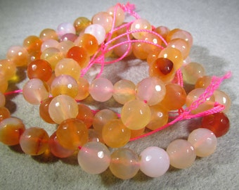 10 MM Light Salmon (dyed) Faceted Agate Bead - 16 Inch Strand
