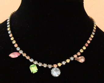Vintage Frosted pastel rhinestone necklace