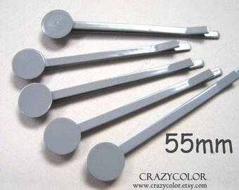 20pcs 55mm Brigh Grey Bobby Pins With Flat Pad 55Y03
