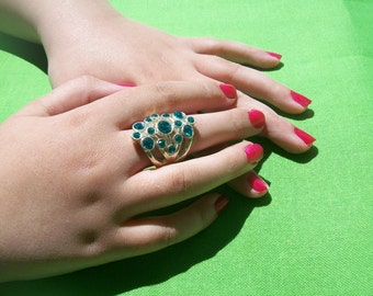 Silver-toned and Turquoise Crystal Stone Ring (Item 242)
