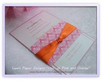 Pink and Orange Wedding Invitation - Modern Invitation - Wedding Invitation with overlay, belly band and ribbon - Monogram Invitation