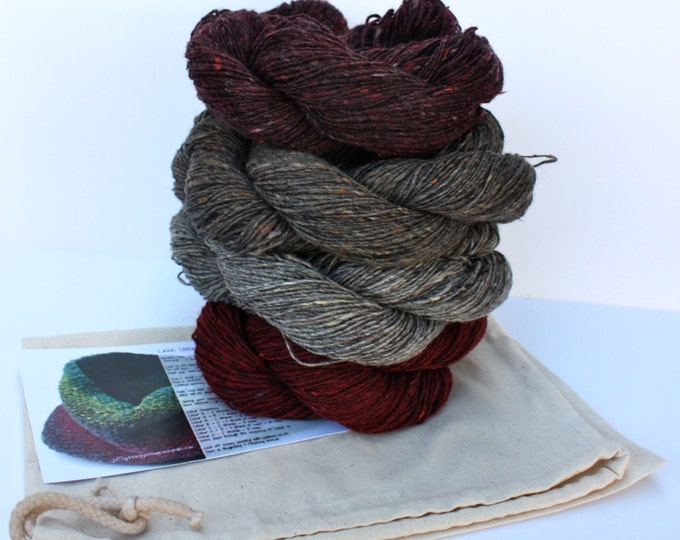 Spinning Yarns Weaving Tales -  Linen Stitch Cowl Knitting Kit - 'Hot Coals'