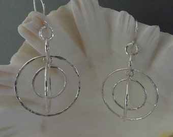 Sterling Silver Wire Multi-Circle Earrings