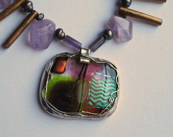 "Necklace-- ""Japan"" -- with dichroic glass and semiprecious stones,--pure silver, pmc, dichroic glass"