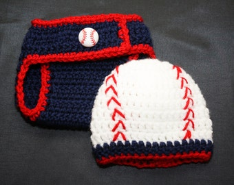 Newborn blue and red crochet baseball hat and diaper cover