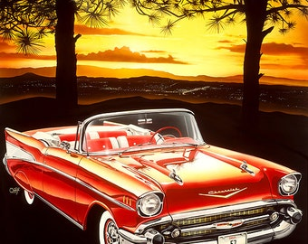 "Night Fall, Digital print - 8.5"" X 11"" , Home Decor, Den Art, Car Art, Signed by Artist Mark Watts"