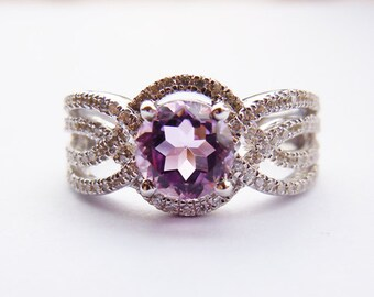 Ladies Sterling Silver&Amethyst Engagement Ring