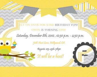 Owl Invitation Birthday Party Baby Shower Digital DIY