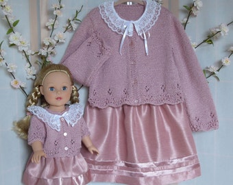 Toddler gift,Matching Doll and Girl Outfit 4 pc set,Holiday Outfit, Handmade,Vintage Rose Cardigan and Skirt