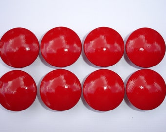 Set of 8 Hand Painted Red Dresser Drawer Knobs