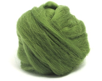 Olive (green) - Shetland Wool Top - Roving - Needle/Wet/Nuno Felting Wool - Spinning