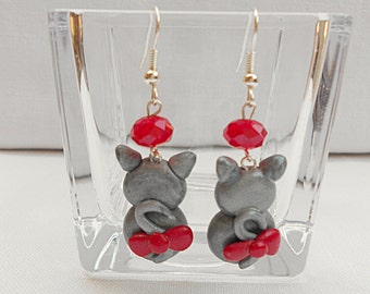 Cats earrings in polymer clay
