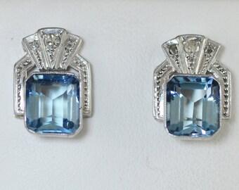 Art Deco Aquamarine Earrings