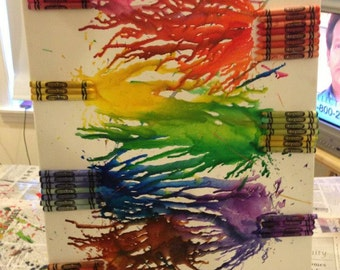 Melted Crayon Art Rainbow Abstract