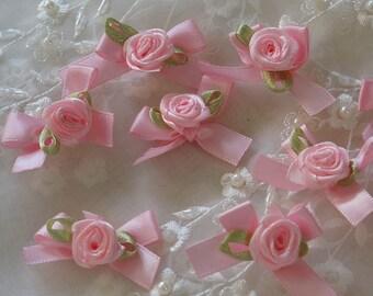 "1.5"" pink Satin Ribbon rose Flower Appliques -30pcs"