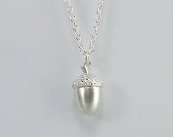 Small Silver Acorn Pendant.