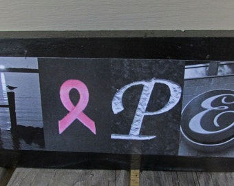 HOPE sign Photo Letter Art on Wood breast cancer art letters on wood