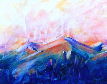 """Colordo mountain landscape at sunset. Contemporary acrylic painting.   12"""" x  24"""".  Free U.S. shipping."""
