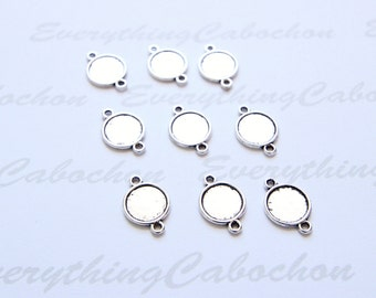 50 pcs Antique Silver Round Cabochon Connector, Inner Tray 10mm