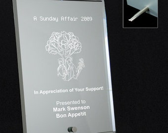 """Mirrored Glass Plaque-6""""X8"""" Engraved for You"""