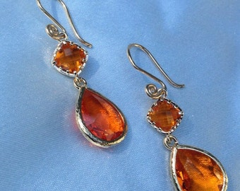 Amber Orange Earrings /Fire Opal and Earrings / Orange Crystal Bridesmaid Earrings/ Topaz Earrings