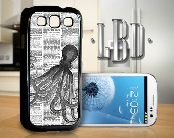 Galaxy S3 Case - VIntage Octopus on Dictionary Cover GS3