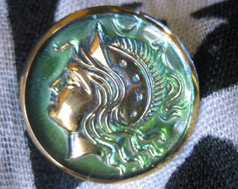 Athena Greek Goddess in Green Czech Glass Button 32mm