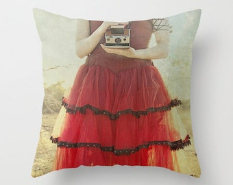 20% Off Sale Ready to Ship Lady in Red Pillow Cover, Vintage Photography, Home Decor, Photo Pillow, Throw Pillow, Fine Art Photography 16x16