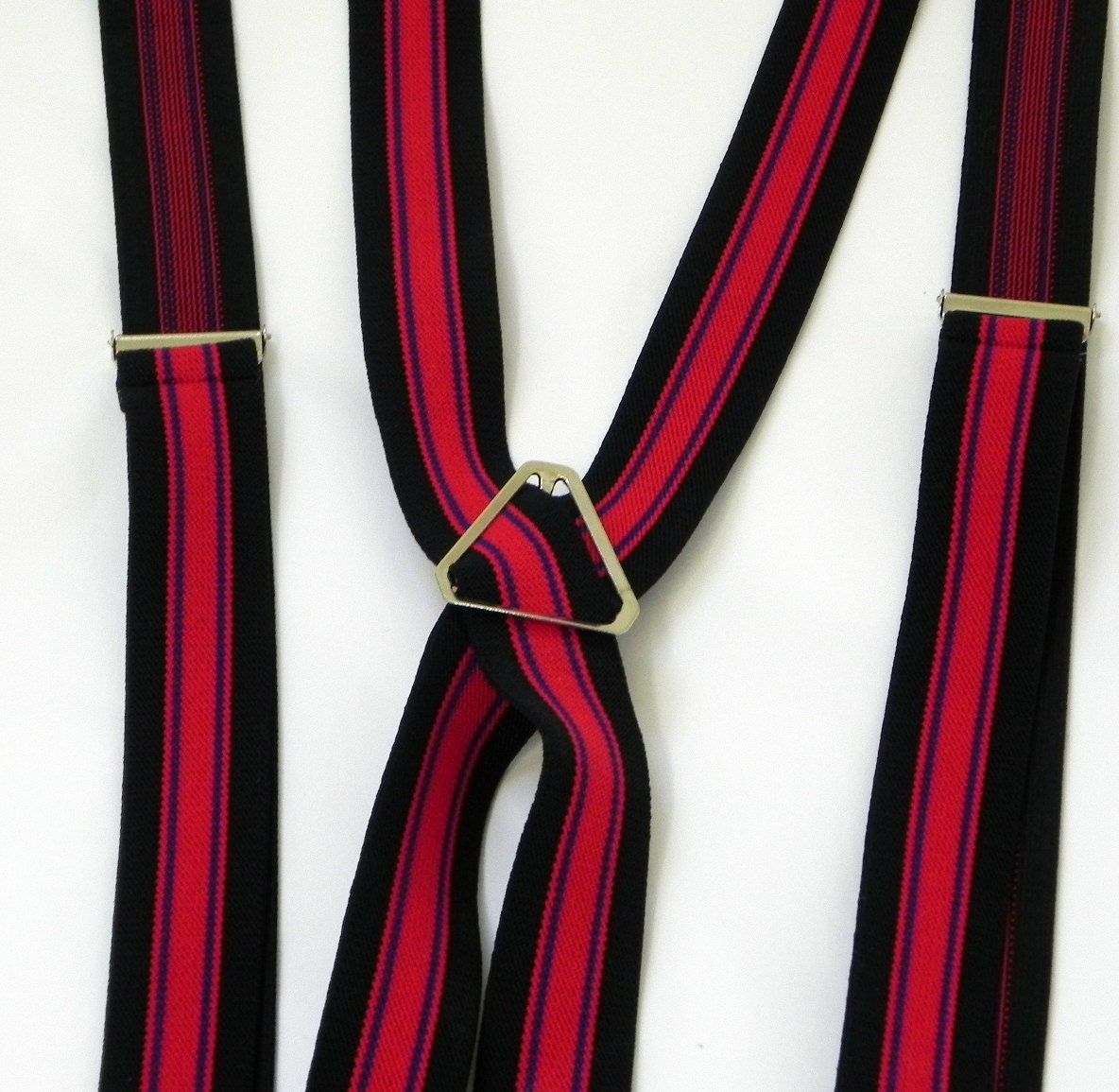 red and black striped suspenders stretch clip on vintage