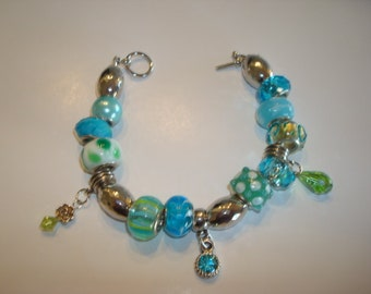 Bracelet, Glass Beaded With Charms
