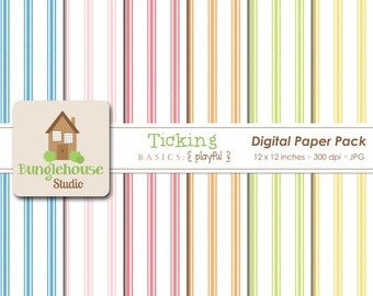 Ticking Digital Papers | Instant Download | Digital Scrapbooking Basics | Bright Ticking Papers