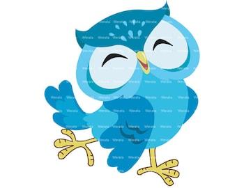 blue owl clip art digital clipart - Cute Owl Digital Clip Art - owl digital clip art- Personal and Commercial Use