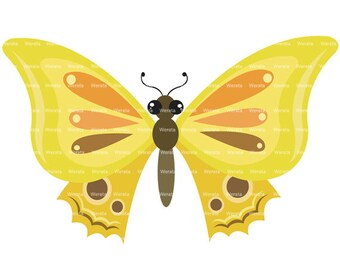 yellow butterflies clip art digital clipart - butterfly clip art - butterfly graphics - butterfly digital - Personal and Commercial Use