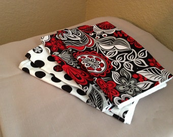 Red and White Floral and  Polka Dot Burp Cloths