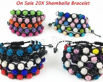 Lot of 20pcs Woven Shamballa bracelet jewelry 9pcs 10mm Crystal beaded adjustable size