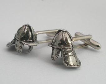 English Civil War Helmet Cufflinks, Fine English Pewter, Gift Boxed, Lobster Pot