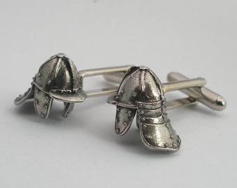 English Civil War Helmet Cufflinks, Fine English Pewter, Gift Boxed, Lobster Pot
